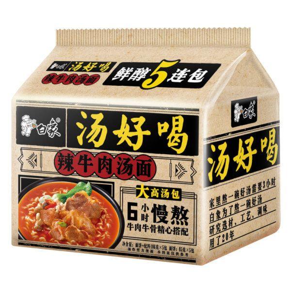 白象方便袋装五连包(辣牛肉汤)5x111g